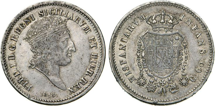 NumisBids: Numismatica Varesi s.a.s. Auction 65, Lot 504 : NAPOLI - FERDINANDO I (1816-1825) 60 Grana o Mezza Piastra 1818. ...