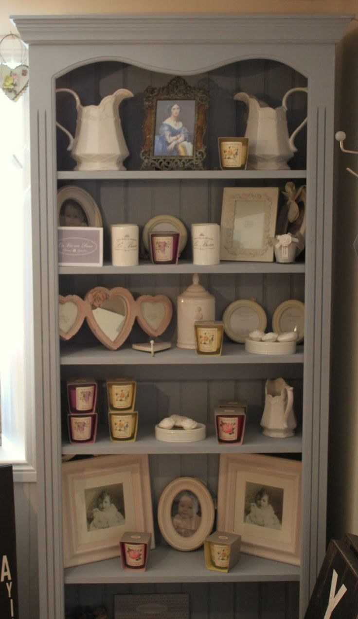 Bookcase painted in Annie Sloan Chalk Paint – a mix of Louis Blue and Paris Grey.