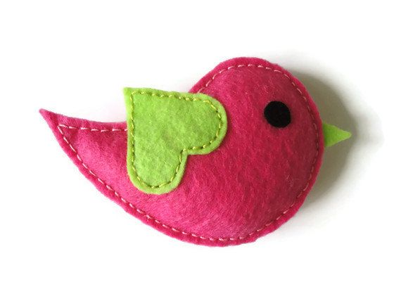 Felt brooch-brooch felt-felt pin-felt bird brooch-bird brooch-animals brooch-felt jewelry-felt accessories-pink bird brooch