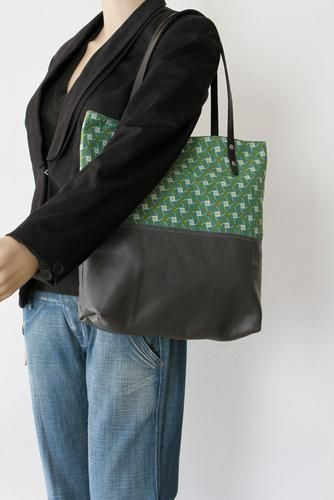 Grey Leather Tote Bag with Green Cotton Print