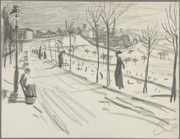 """Hans Körnig, """"Bautzner Straße am Waldschlößchen im Winter"""", Graphit auf Papier, 1939, aktuelle Ausstellung: http://www.dresden.de/veranstaltungen-tourismus/snm_vkal_frontend/events/detail/22236 Reproduktion: Olaf Börner/ Museum Körnigreich"""