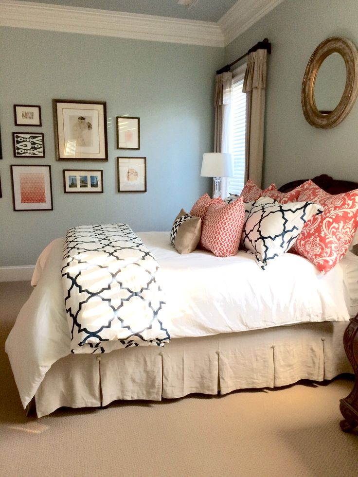 Completed linen, navy, and coral bedroom -bed skirt idea