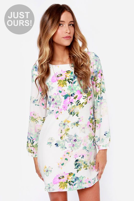 LULUS Exclusive Hydrangea Hopes Ivory Floral Print Dress at LuLus.com! I just bought this for my trip!