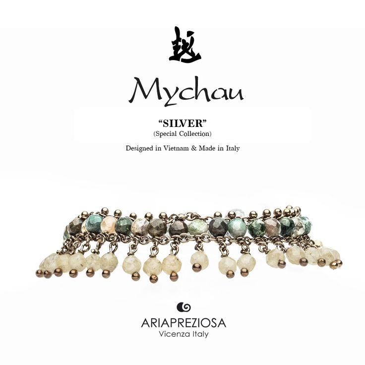 Mychau Silver - Bracciale realizzato in Argento 925‰ (galvanica chocolate) e pietre naturali Agata Muschiata e Citrino