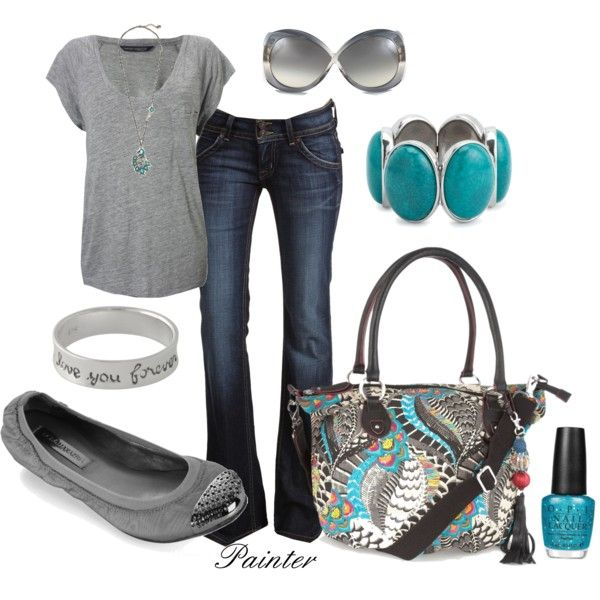 """""""Comfy Day"""" by mels777 - I'm such a sucker for grey and turquoise!  [French Connection Vermont tee; BCBG Parker ballet flat; Debenhams black peacock bag; Tom Ford Margot sunglasses; Peacock necklace"""