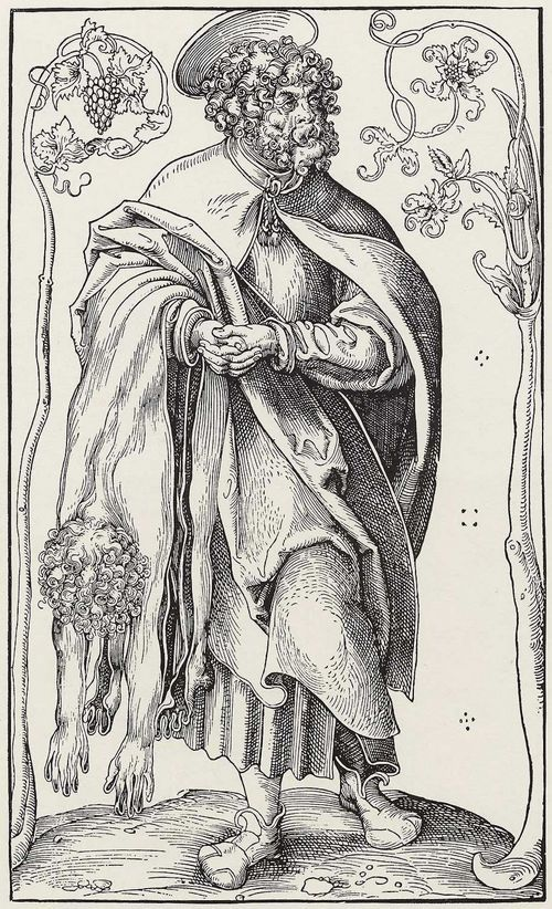 "Cranach the Elder (attributed, not signed)  St. Bartholomew , Woodcut, 31.5 x 18.8 cm, ca. 1512, München, Staatliche Grafische Sammlung, from a series ""Christ and the 12 apostels"" (Christ with Cranach's sign)"