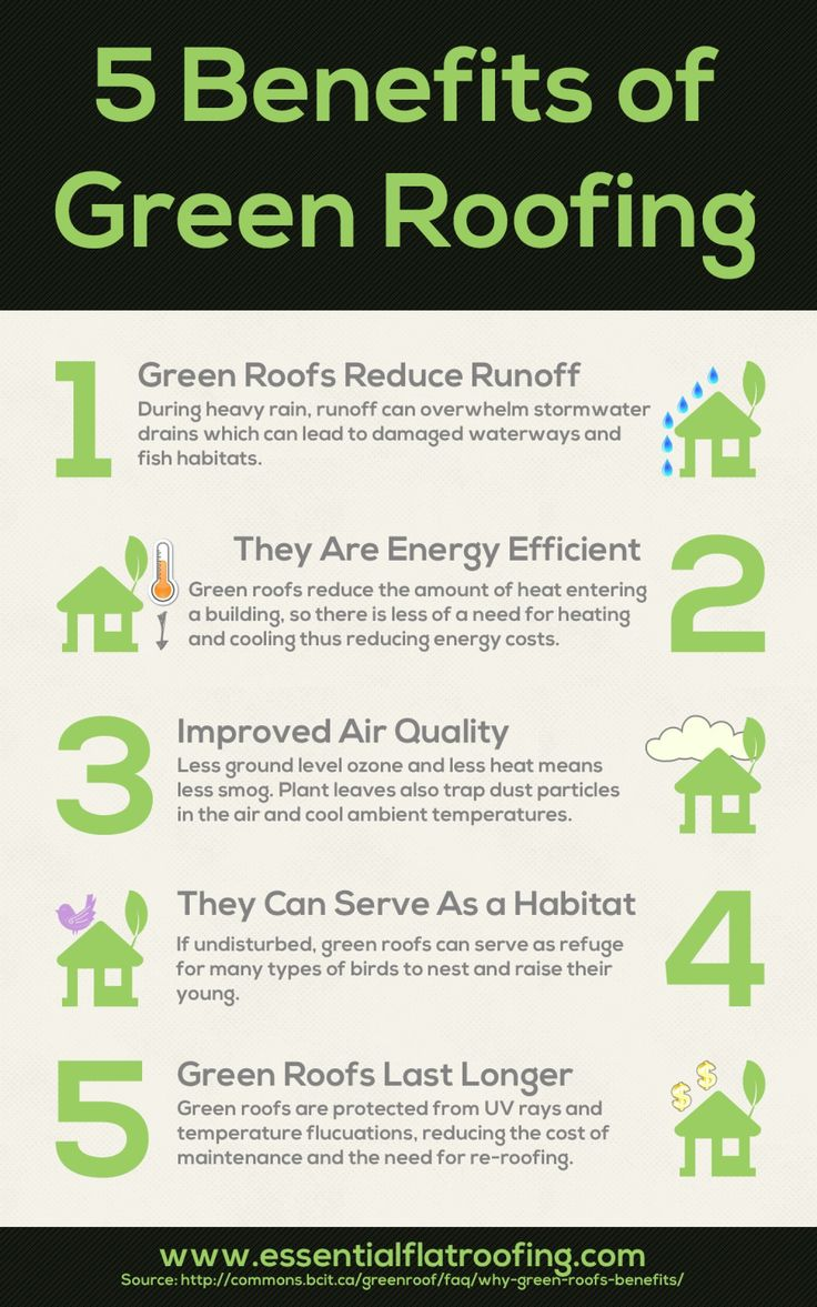 5 Green Roofing Benefits Visual Ly Green Roof Benefits Green Roof Roofing