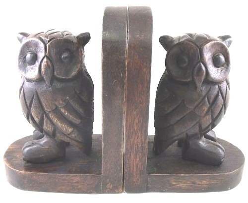 Elegant Carved Owl Stained Wooden Bookends Library Desk Shelf Décor | EBay
