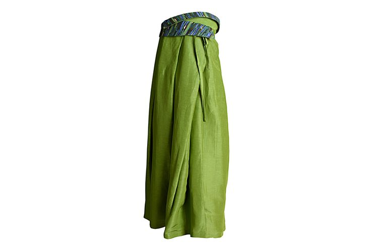 C.45 Long silk and linen wrap skirt with pleats and textured silk belt detail.