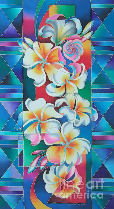 Island Flowers - Frangipani Print by Maria Rova