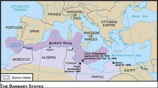 June 10 1801 The First Barbary War (1801-1805) The North African state of Tripoli declared war on the United States in a dispute over safe passage of merchant vessels through the Mediterranean. || The 4 Barbary States were: Morocco, Algeria, Tunisia, Tripoli.