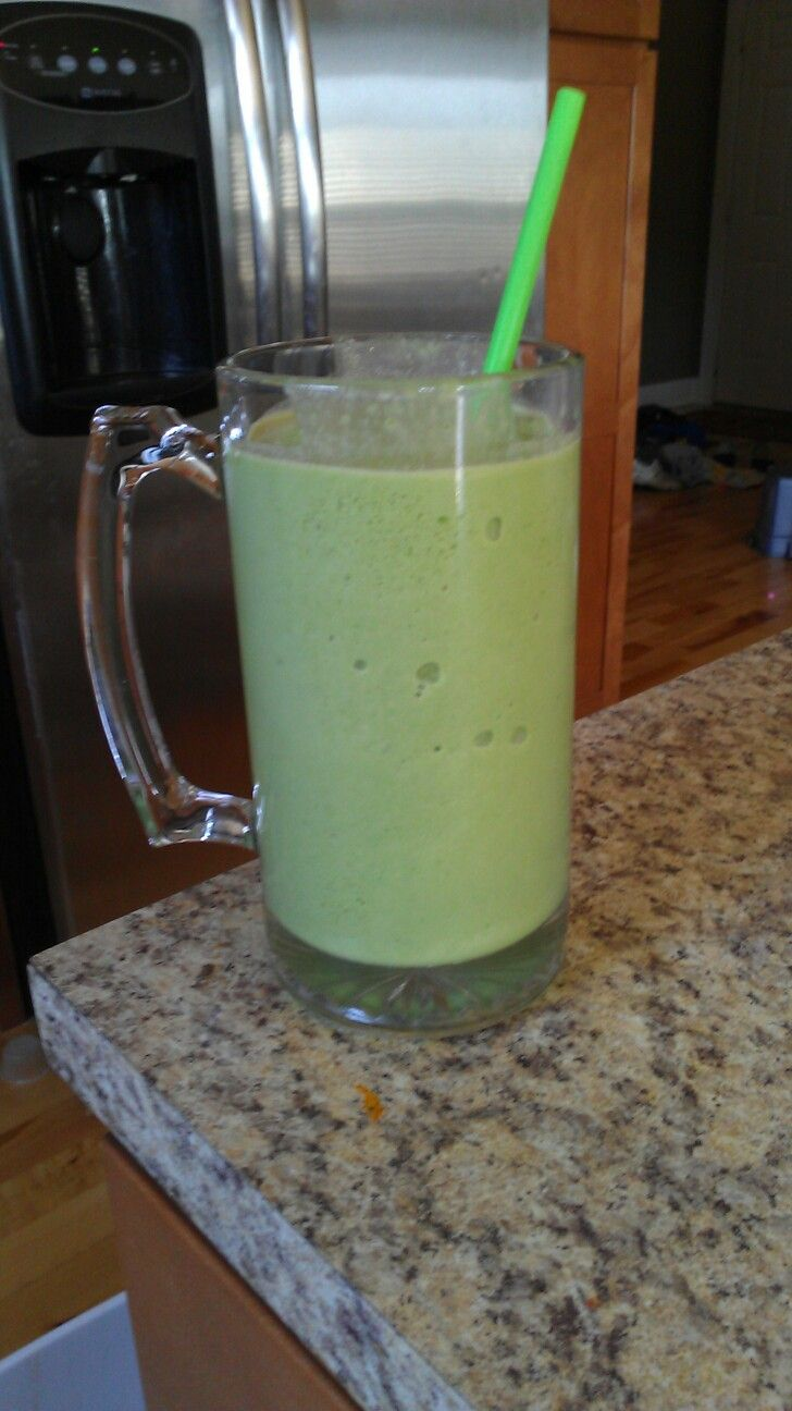 One of my favorite smoothies and how I lost my baby weight. 3/4 cup of almond milk, handful of spinach, 2table spoons of natural peanut butter, 1 scoop of vanilla whey protein powder, 1/2 banana and 3 handfuls of ice. Blend, and enjoy! Don't knock it before you try it!