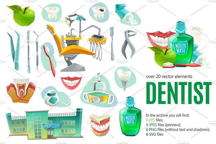Dentist Cartoon Set - Illustrations - 1