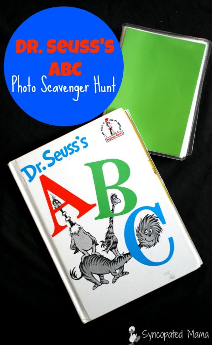 From #FridayFrivolity - Pre-K Kindergarten alphabet / letters activity - great project for beginning of the year! - Dr. Seuss's ABC Photo Scavenger Hunt via Syncopated Mama: