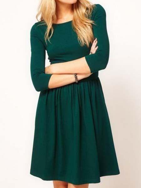 Basic Green Skater Dress