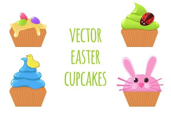 Vector Easter cupcakes #vector #easter
