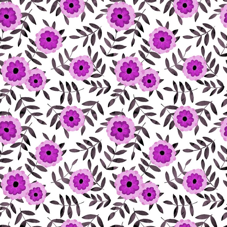 Floral pattern. Pen drawing and Photoshop coloring.