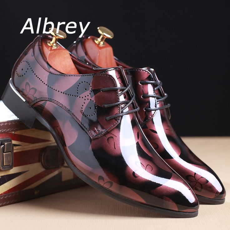 Vintage Design Men's Patent leather Business Dress Shoes Mens Casual Lace-up Flats Plus size 38-48 -www.eneryoh.com