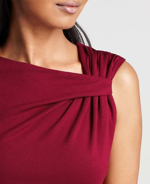 Pleat Shoulder Dress | Ann Taylor