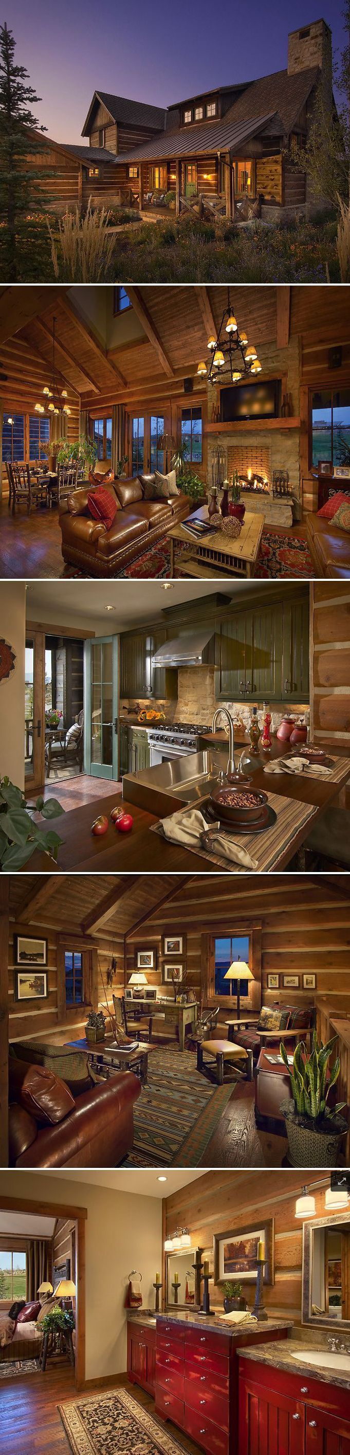 I've always loved the idea of a log cabin home. The one on this Pin and all the…