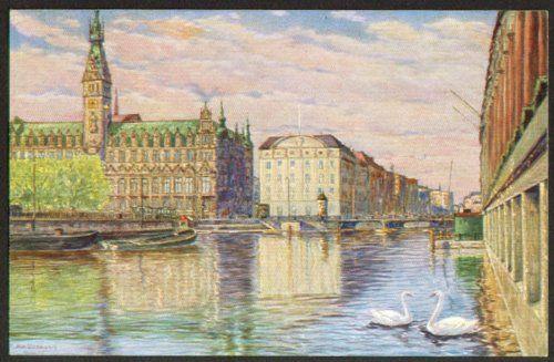 Rathaus Reichsbank Hamburg postcard Max Ullmann 1910s