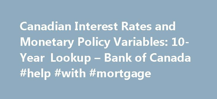 Canadian Interest Rates and Monetary Policy Variables: 10-Year Lookup – Bank of Canada #help #with #mortgage http://mortgage.nef2.com/canadian-interest-rates-and-monetary-policy-variables-10-year-lookup-bank-of-canada-help-with-mortgage/  #prime mortgage rate # Canadian Interest Rates and Monetary Policy Variables: 10-Year Lookup Notice: Since 30 March 2015 Thomson Reuters Benchmark Services Limited has been responsible for the calculation of the CORRA rate. This rate, as calculated by…