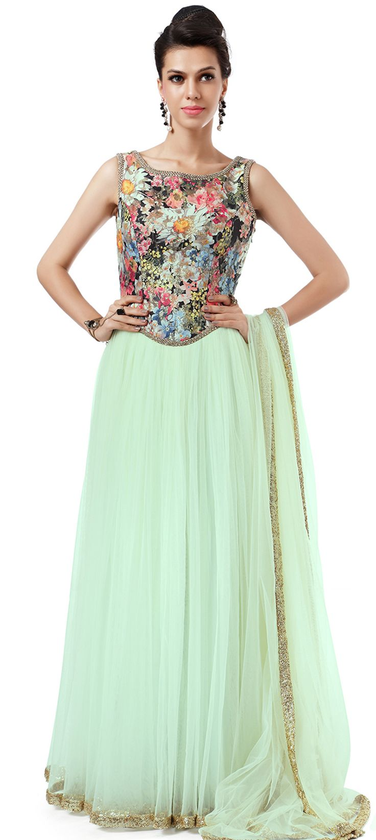 Buy Online from the link below. We ship worldwide (Free Shipping over US$100). Product SKU -  270481 .Product Link -  http://www.kalkifashion.com/mint-anarkali-embellished-in-weave-only-on-kalki.html