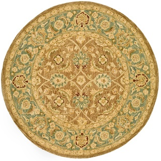 @Overstock - Floor rug features a brown background with a blue border Traditional rug displays stunning accents of beige, ivory, blue, green, and burgundy Rug is made of a 100-percent hand-spun wool pilehttp://www.overstock.com/Home-Garden/Handmade-Legacy-Brown-Blue-Wool-Rug-8-Round/4392671/product.html?CID=214117 $268.99
