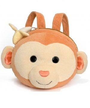 Monkey Plush Backpack - $54.95 - Each of the cuddly plush backpacks is made from organic cotton, so they are super soft inside and out.  The eyes and nose are made of a natural silk and hemp blend and these are filled with a natural corn fiber.   #sweetcreations #kids #toddler #school #kindy #backpack #monkey #ecofriendly #ApplePark