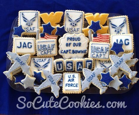 Air Force cookies! Maybe I'll do this instead of a large cake that people wont eat. With F-15's and B-2's!