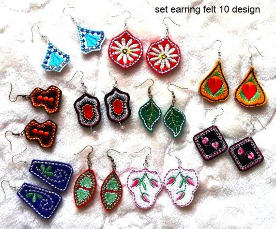 Earrings 10designs - felt - Machine embroidery digitization./INSTANT DOWNLOAD