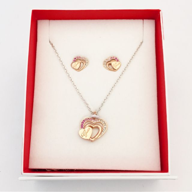 GUESS / LITTLR HEART IN FRAME NECKLACE AND EARRING SET / Rose Gold