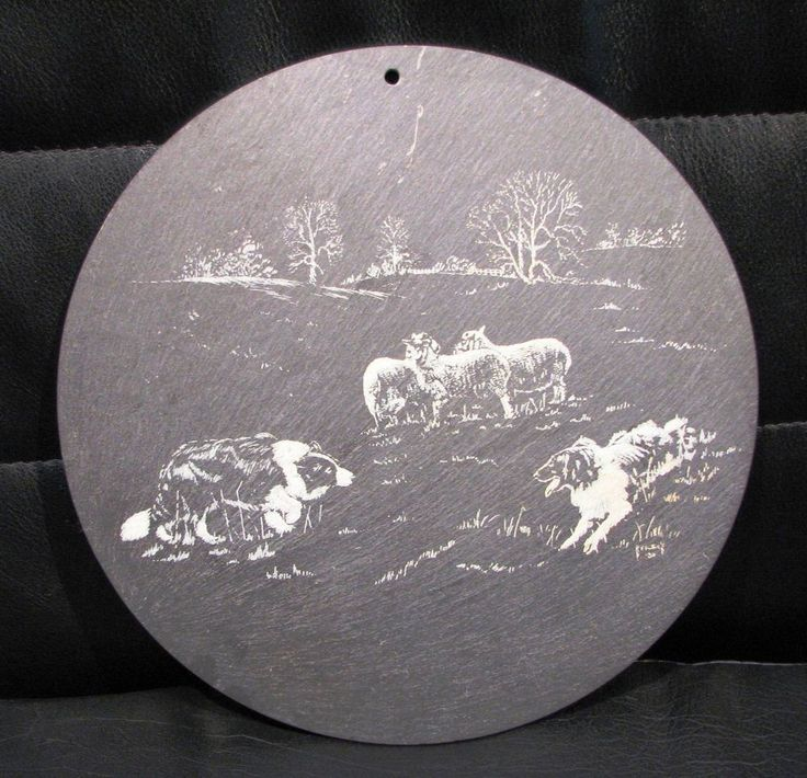 R F Fullick etching on slate titled  Boarder Collies and Sheep