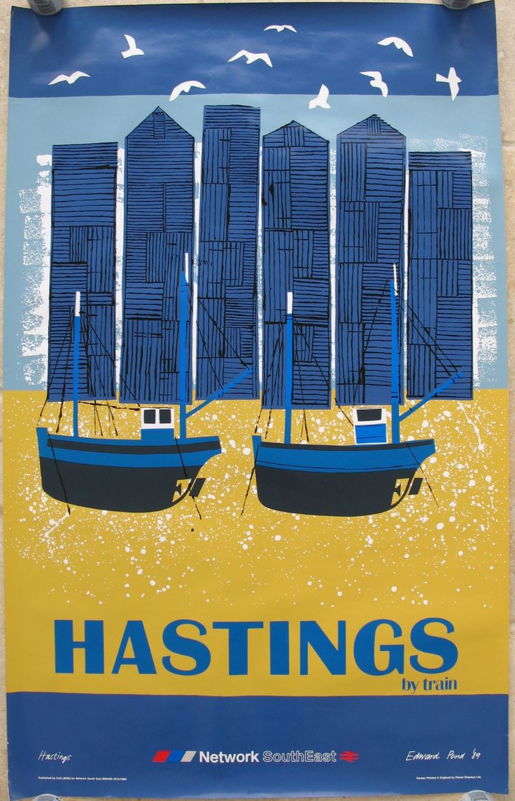 Hastings by Train, by Edward Pond. A montage-style view of boats, sheds, seagulls and beach; the essence of Hastings shown in a bold, colourful style. Edward Pond was commissioned by the newly formed Network SouthEast region in 1989 to produce posters for a large number of destinations in the region, as well as murals for inside the trains and other publicity material. Original Vintage Railway Poster available on originalrailwayposters.co.uk