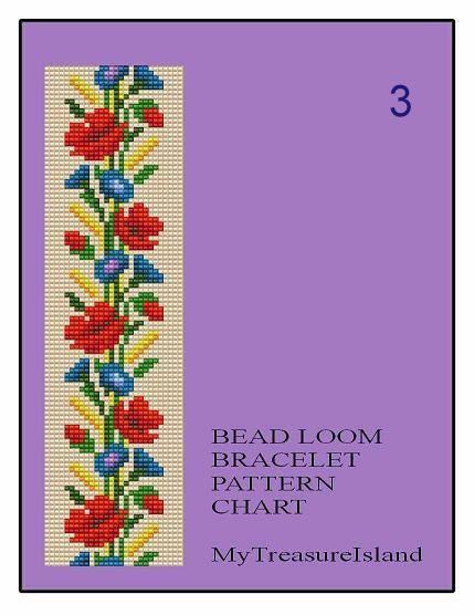 Bead Loom Floral Border 3, 4, 5 Multi-Color Bracelet Patterns PDF