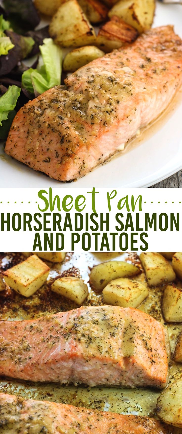 Potatoes and salmon are cooked on the same pan in this sheet pan horseradish salmon and potatoes recipe. A horseradish dill sauce coats the salmon beautifully with no marinating required!