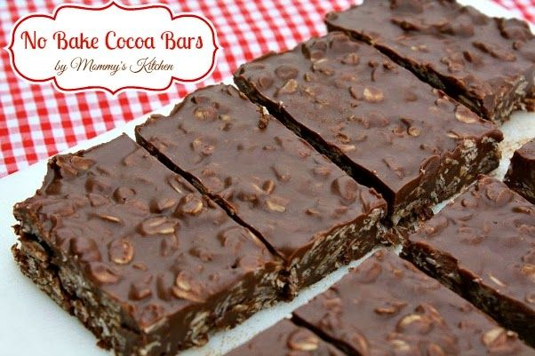 Mommy's Kitchen: No Bake Cocoa Bars