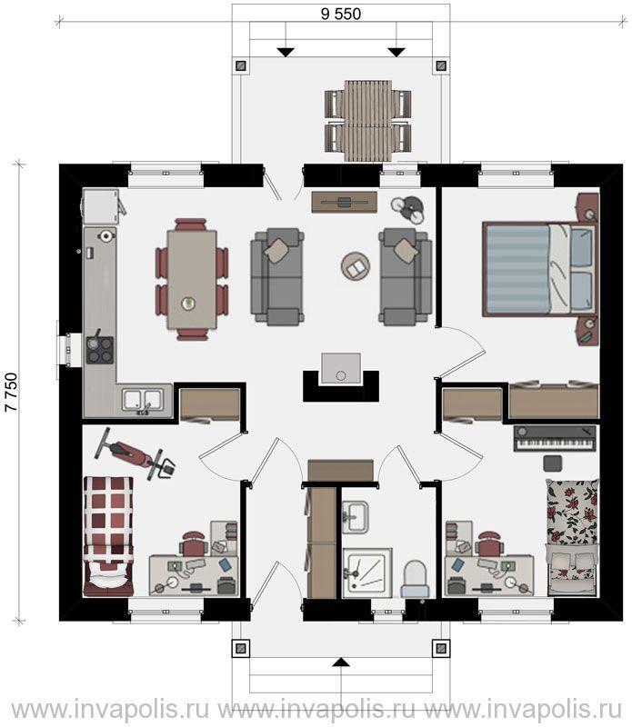 план проекта одноэтажного дома 8 на 10 с 3 спальнями Скиф