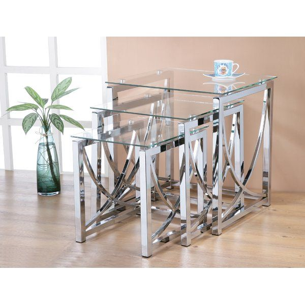 Greta 3 Piece Nest Of Tables Mirrored Coffee Tables Mirrored