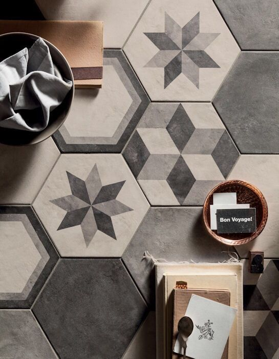 Casablanca Range Mandarin Stone Decorative Hexagon And Square Format Porcelain Tiles In A