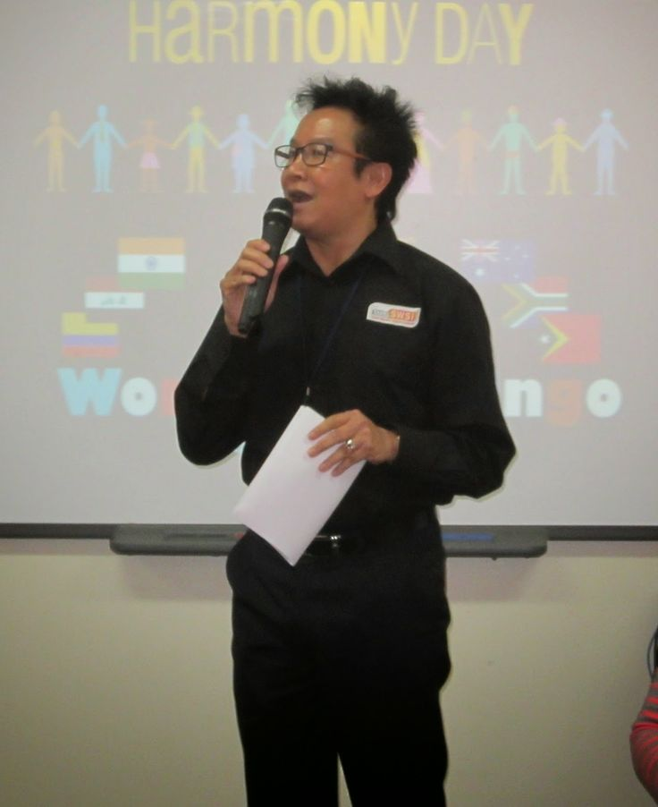Wetherill Park College Library celebrates Harmony Day with Andrew Ang SWSi Multicultural Coordinator opening the celebrations!