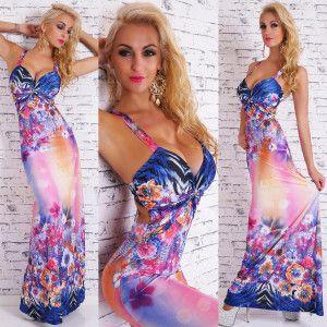 Zebra Bouquet Maxi Dress in blue & pink