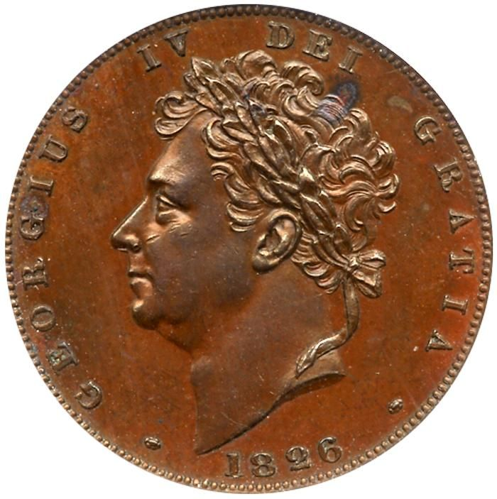George IV (1820-30), Proof bronzed copper Farthing, 1826 George IV (1820-30), Proof bronzed copper Farthing, 1826. Laureate head left, date below, Latin legend and toothed border surrounding, GEORGIUS IV DEI GRATIA rev. struck en medaille, Britannia seated right with trident and shield, emblems in exergue, Latin legend and toothed border surrounding, BRITANNIAR: REX FID: DEF: (Peck 1440; S 3825; KM 697a). Toned practically as struck, has been graded and slabbed by Coin Grading Service UK as…