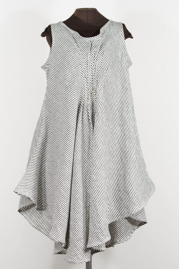 STRIPES black + white linen party dress – secret lentil