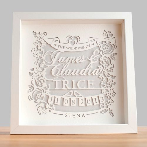Personalised Wedding Gift Art : Personalised Classic Wedding Paper CutFramed GWAG Appealing ...