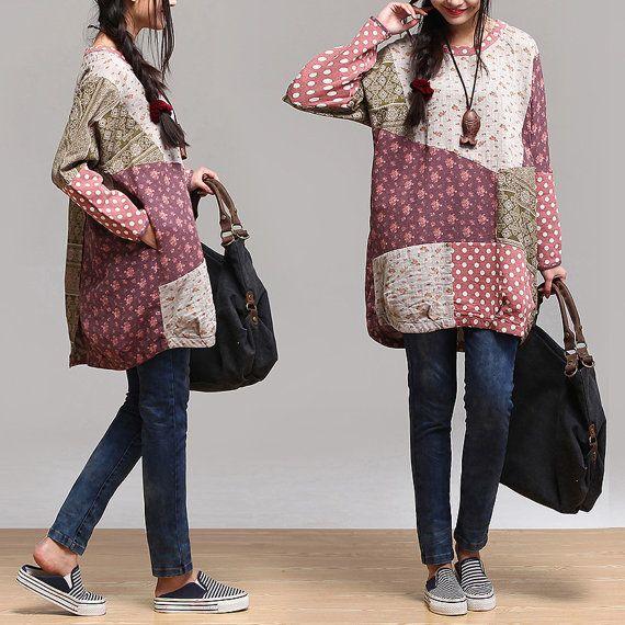 women dress cotton long loose blouse shirt - long sleeve capri skirt -Irregular…