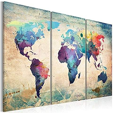 3PCS Canvas Print Watercolor World Travel Map Poster, Abstract Mural Home Office Decor Wall Hanging Art with Special Tools by COUTUDI (blue)