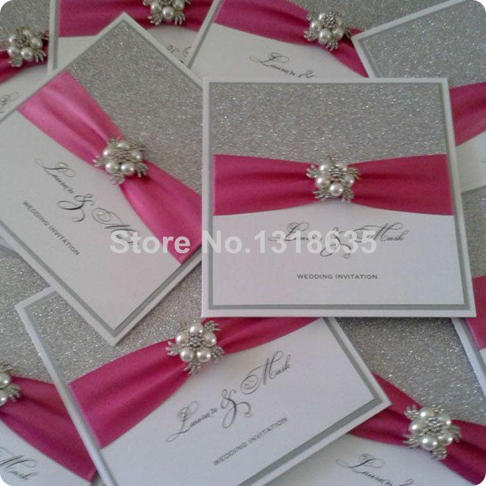 eenvoudige handgemaakte uitnodigingen met schitterde parel broche(China (Mainland))
