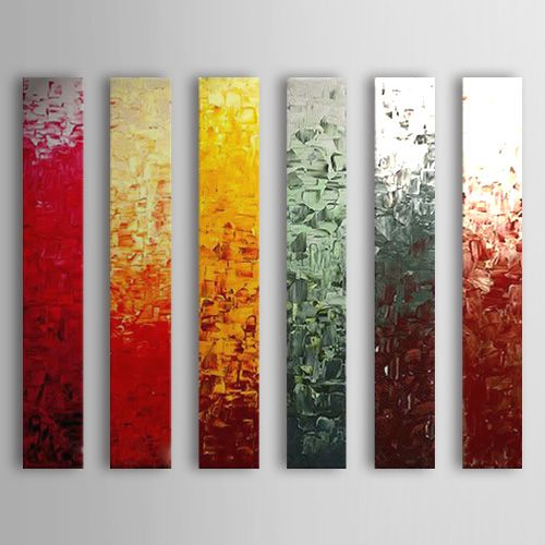 Hand Painted Oil Painting Abstract With Stretched Frame Set of 6 1308-AB0566