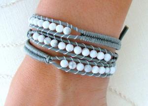 Beaded Leather Wrap Bracelet- love it